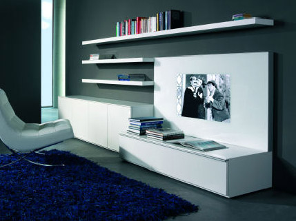 contemporary tv stand and media organizing