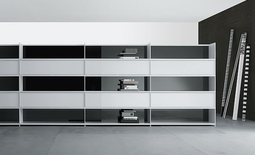 ultra modern sleek residential shelving