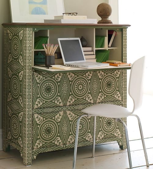 secretary desk well concealed hidden and hand painted