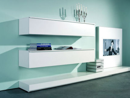 white tv stand and shelves