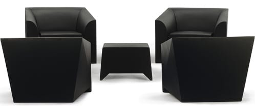 MARIO BELLINI MB1 MOULDED PLASTIC CHAIR AND OTTOMAN