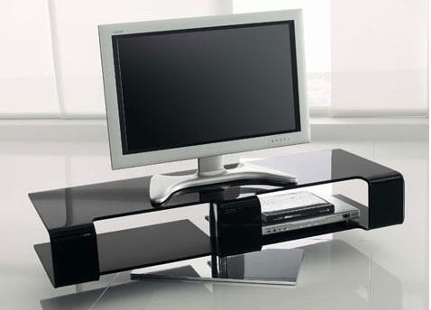 MODERN GLASS SWIVEL AUDIO VIDEO TV STAND