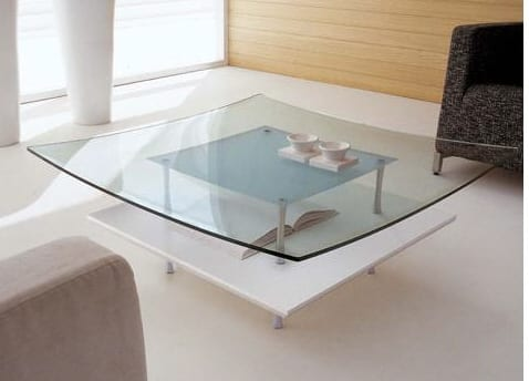 SQUARE GLASS MODERN COFFEE TABLE TONIN CASA