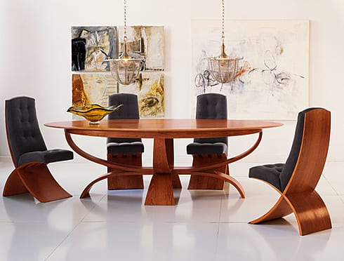 THOMAS MOSER VITA CHERRY WOOD OVAL DINING TABLE AND DINING CHAIRS