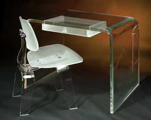 acrylic and plastic desks and chairs