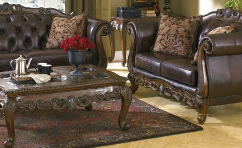 ashley furniture traditional leather sofa and love seat.jpg