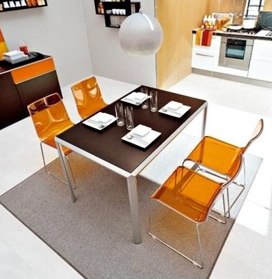 calligaris modern contemporary dining table and dining chairs