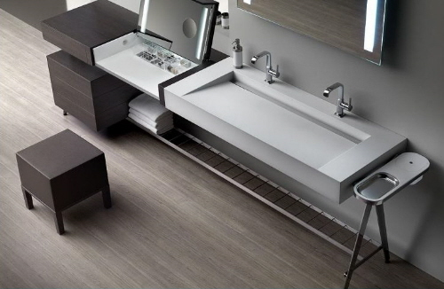 contemporary and modern vanity bathroom storage