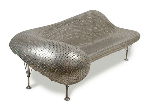 couch made of nickles