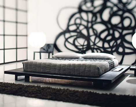 Otto Low Modern Platform bed by Gervasoni of Italy