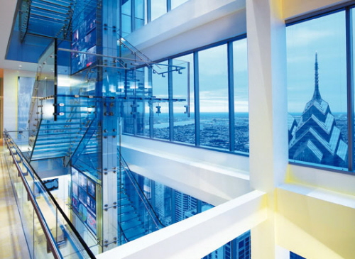 glass stairs and interior design commercial offices