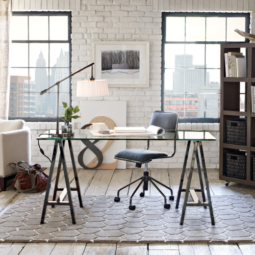 trestle work table desk glass top